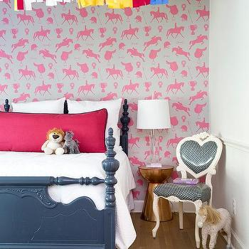 Girl Room With Pink Horse Wallpaper