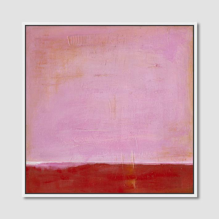 Framed Pink On Red Wall Canvas Art