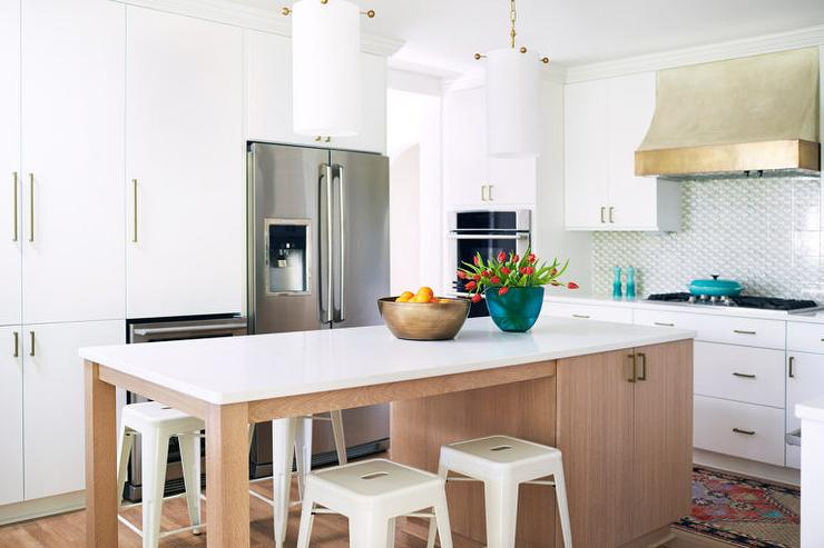 Beige Kitchen Island With White Tolix Stools