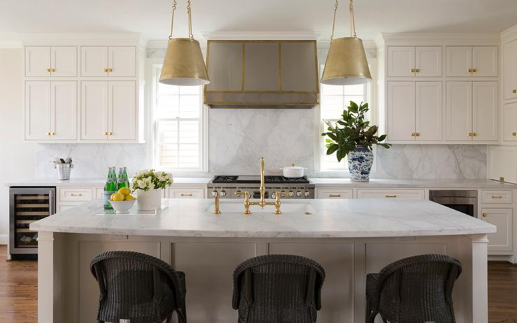 Antique Brass Drum Pendant Lights Over White Island Transitional - Over the counter hanging lights
