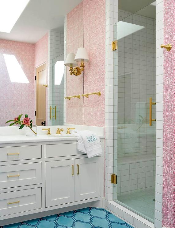 Pink and blue girls bathroom contemporary bathroom for Pink and blue bathroom ideas