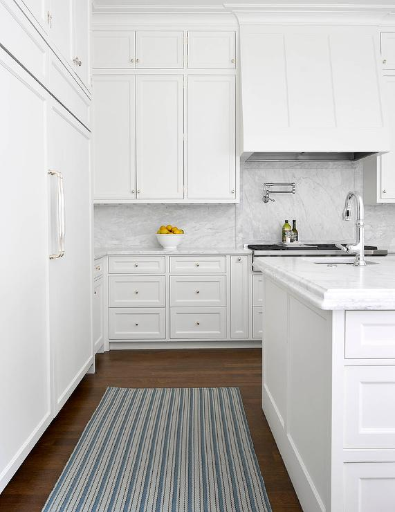 Blue Striped Rug With All White Kitchen Transitional