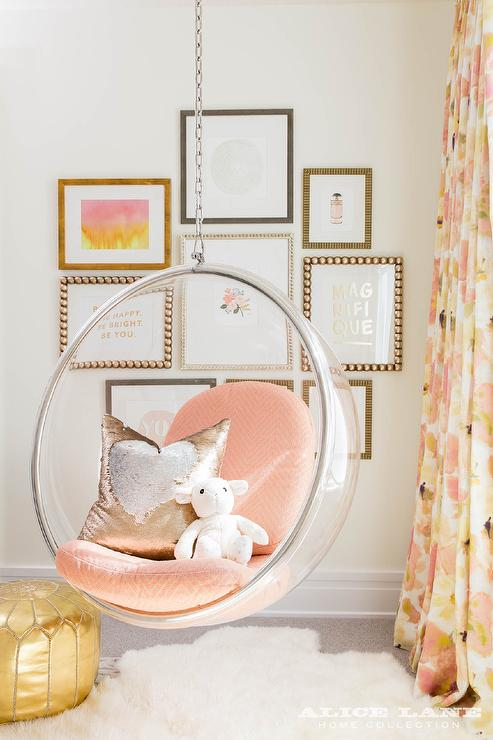 Charmant Clear Hanging Bubble Chair With Pink Chevron Cushions