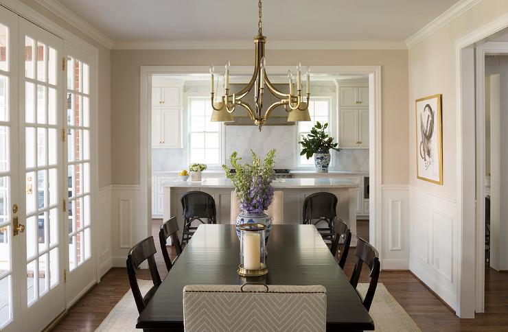 Superior Ebony Dining Table And Chairs With Gold Chandelier