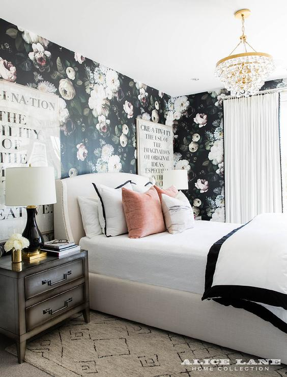 Off White Linen Bed With Black Lamps Contemporary Bedroom