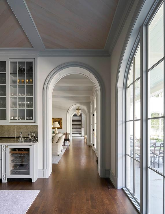 Gray Arched Doorway To Home Bar Transitional Kitchen