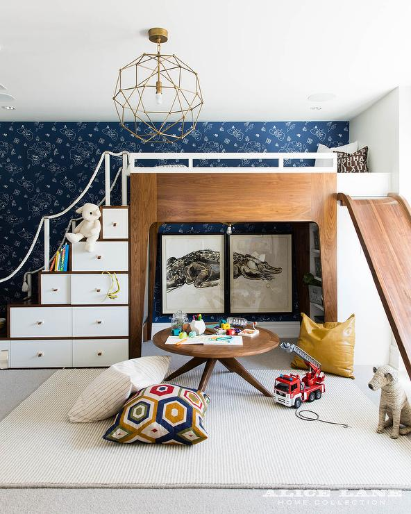 Modern Kid Loft Bed With Slide