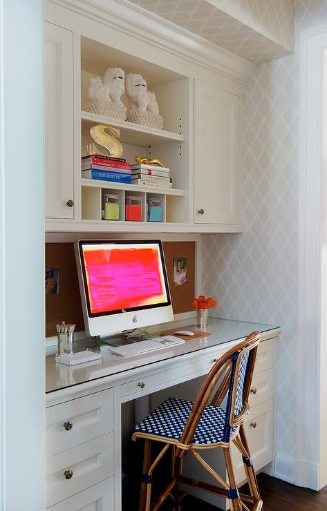 White Built In Desk With Gray Linen Pin Board