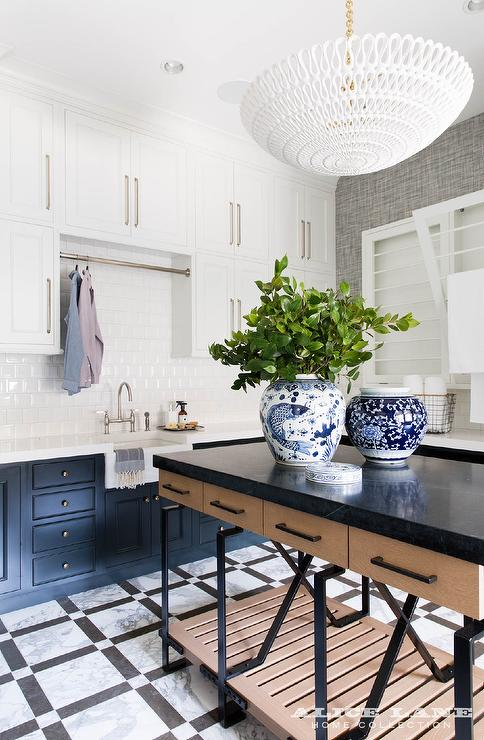 Modern Laundry Room Island With Black Marble Top