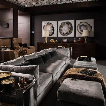 Delicieux Long Steel Gray Velvet Sofa With Dark Gray Velvet Pillows