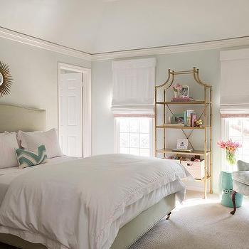 Girl Bedroom Gold Bookcase Design Ideas