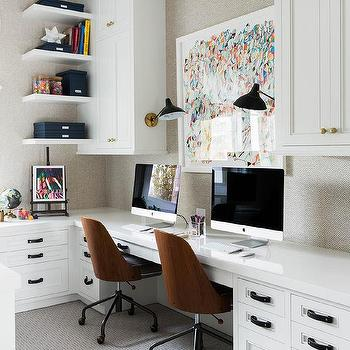 Home Office With Built In Side By Side Desks