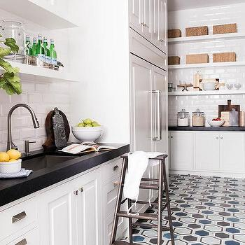 White Kitchen Pantry With Blue And Gray Hex Tiles