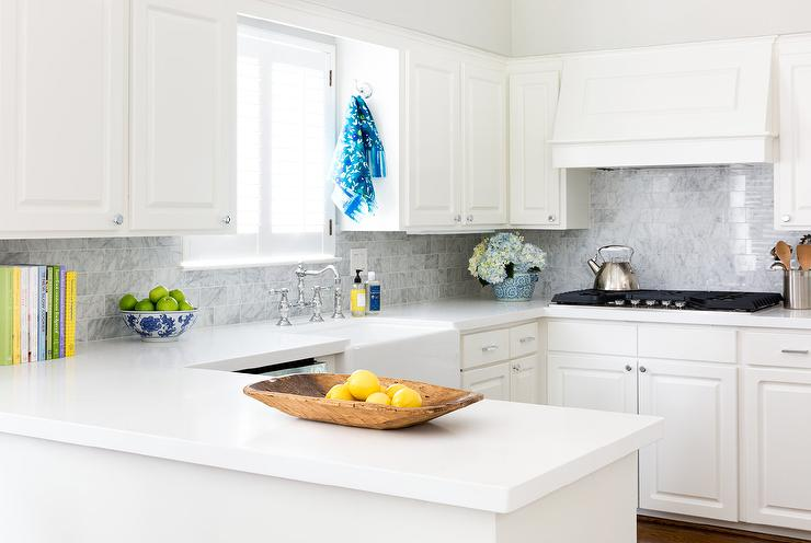Off White Kitchen With Gray Marble Subway Tiles Transitional Kitchen