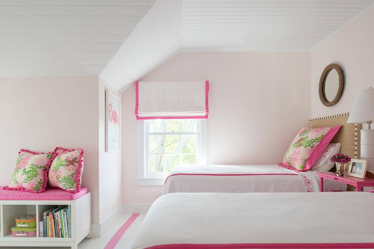 Pink Girl Bedroom With Pink Flamingo Art Transitional