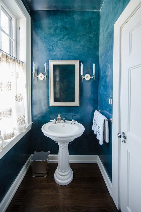 Beach Style Powder Room With Blue Ombre Walls Cottage