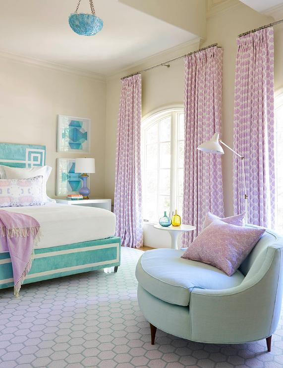 Lilac and Turquoise Blue Girl Bedroom - Contemporary ...