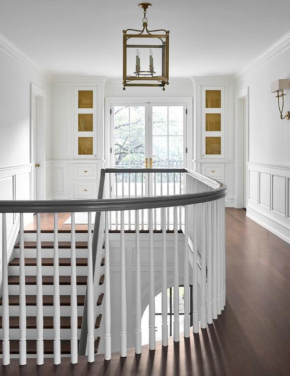 Glass Stair Railing Transitional Entrance Foyer Blue