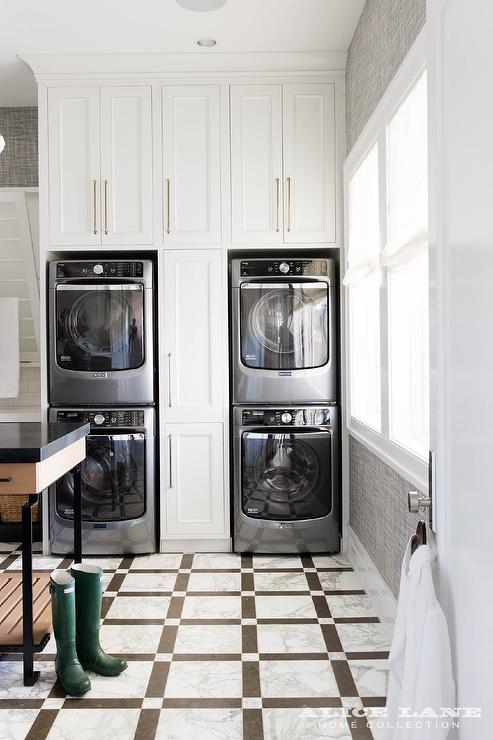 Pull Out Cabinets Between Stacked Washers And Dryers