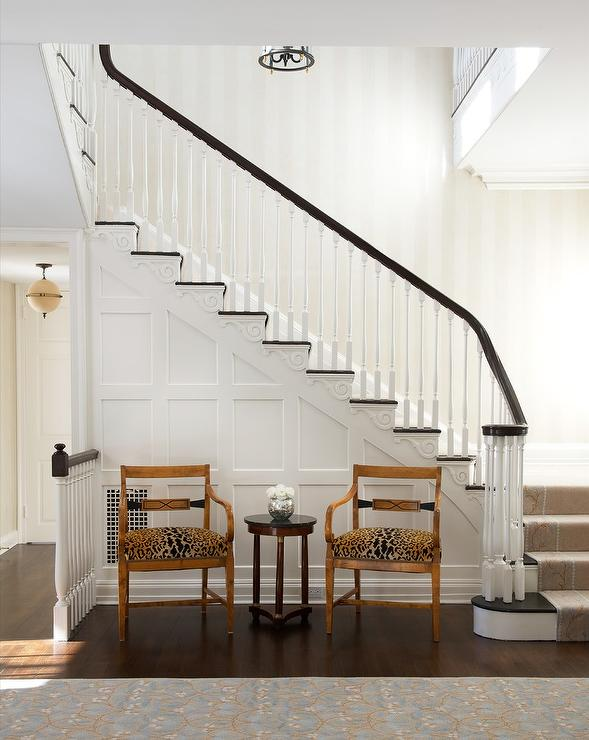 Shiplap Staircase With Leopard Print Stair Runner
