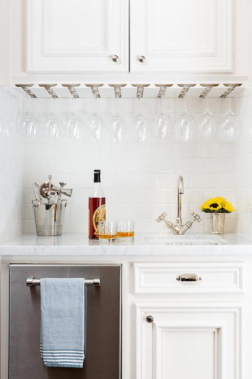 Under Cabinet Wine Glass Rack Transitional Kitchen