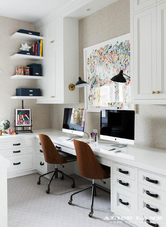 Home Office With Built In Side By Desks