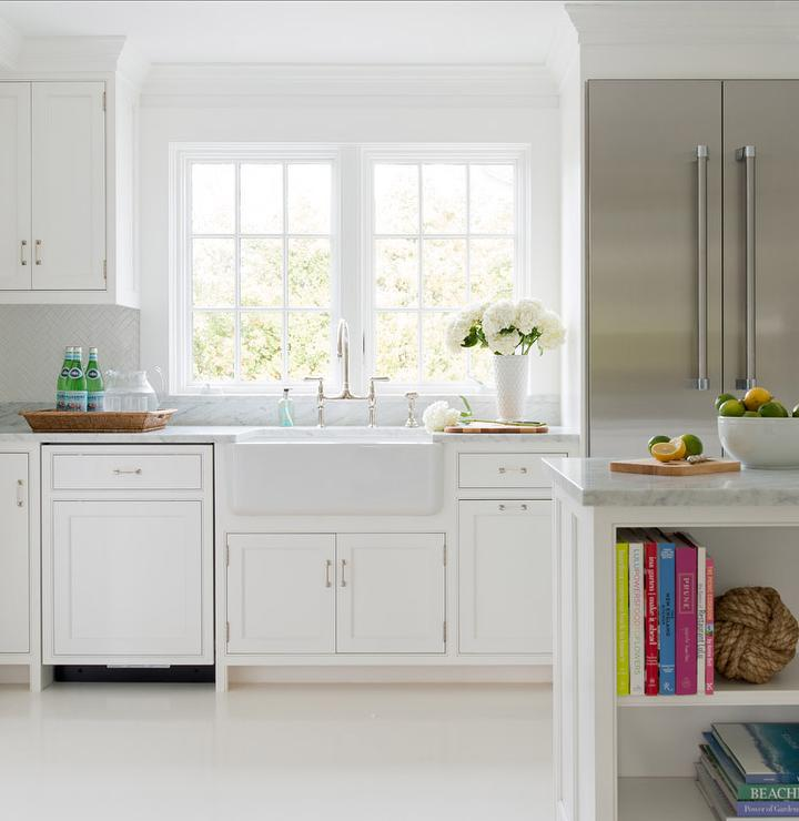 Whitewashed Plank Floors In White Kitchen Transitional