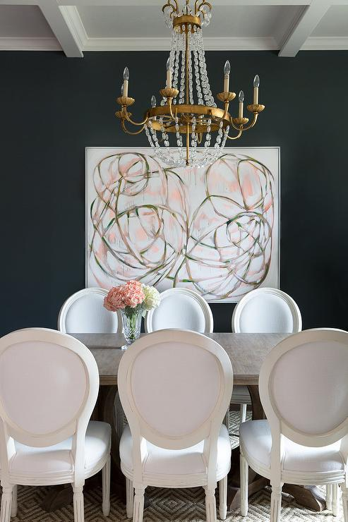 Black Wall With Pink Abstract Art Transitional Dining Room