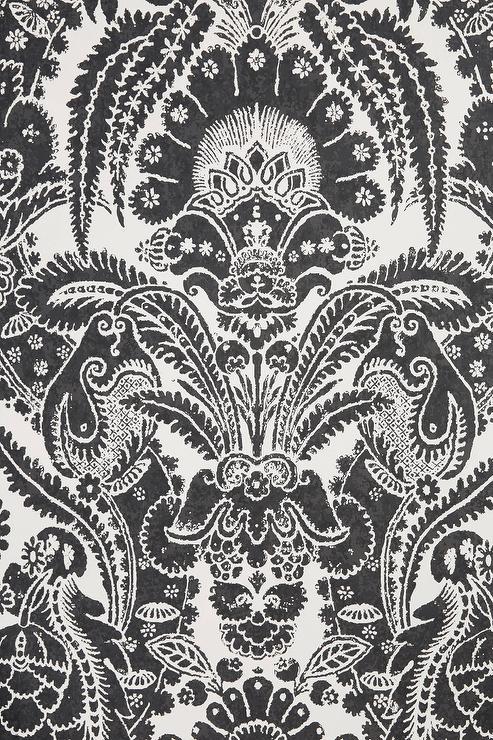 Chatterton Black White Damask Wallpaper