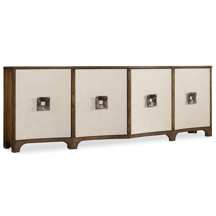 Melange Wood Four Door Media Credenza