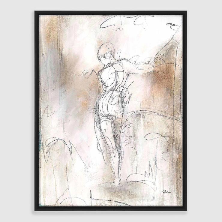 Figure Sketch Framed Canvas Print