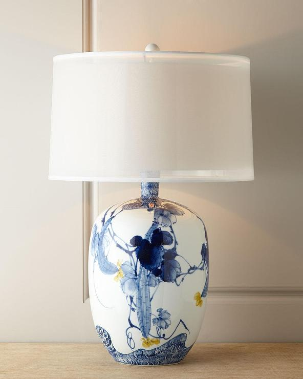 Floral Blue White Chinoiserie Lamp