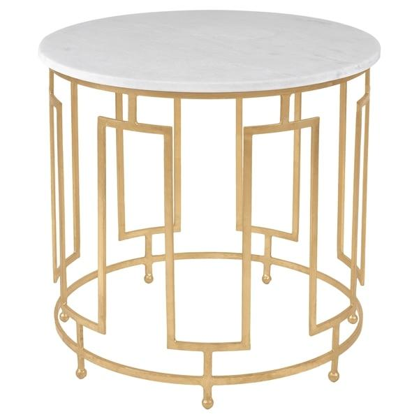 White Marble And Metal Round Accent Table: Caldwell White Marble Gold Leaf Accent Table