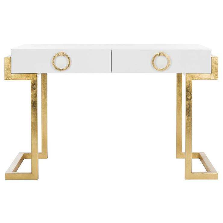 maia white lacquer gold leaf chic desk