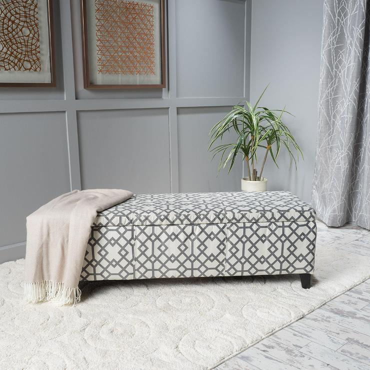Cleo Geometric Fabric Storage Ottoman Bench