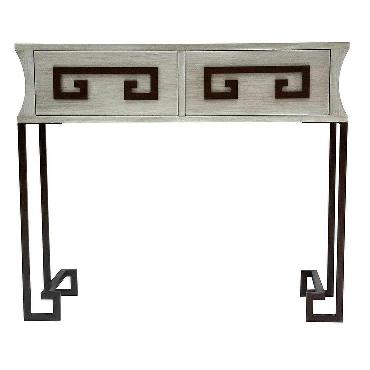 Two Drawer Weather Wood Greek Key Console
