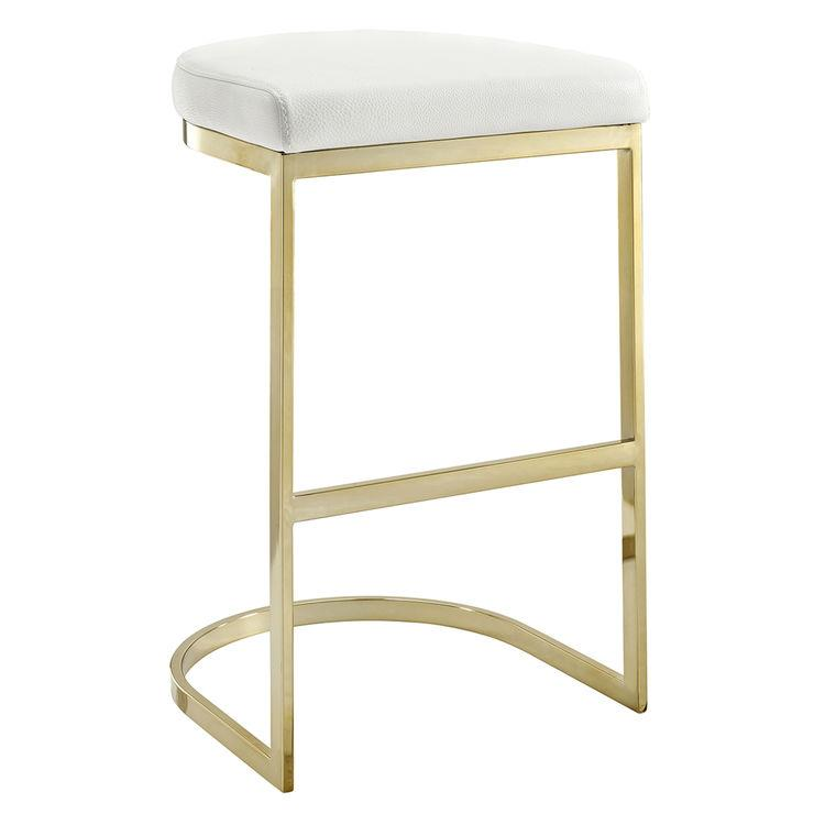 manhattan white gold bar stool - White Leather Bar Stools