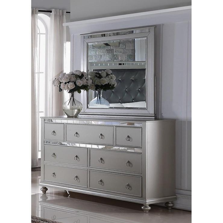 Nevaeh Silver Dresser Mirror Combo