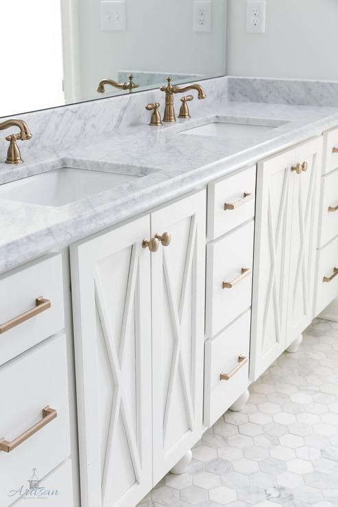 Bathroom Vanity Pulls white x front bath vanity with brushed brass pulls - transitional