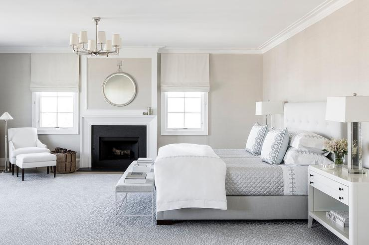 White and Gray Master Bedroom with Fireplace - Transitional ...