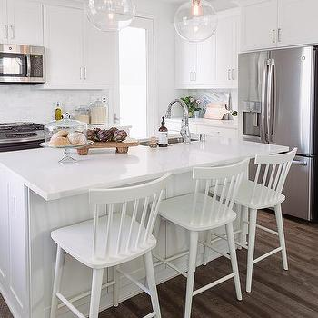 ee07e082fea Modern White Windsor Counter Stools in White KItchen