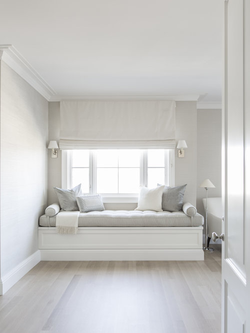 . Master Bedroom with Built In Window Seat Bench   Transitional   Bedroom
