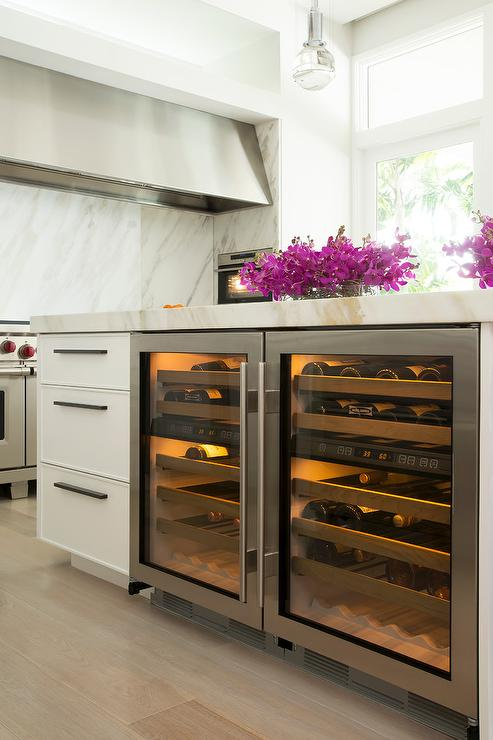 Side by Side Wine Coolers in Island - Contemporary - Kitchen
