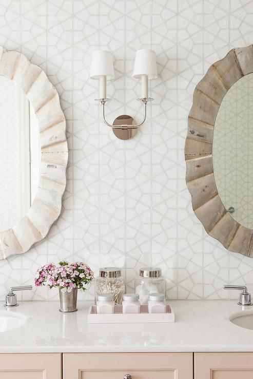 White Hex Bathroom Backsplash Tiles Transitional Bathroom