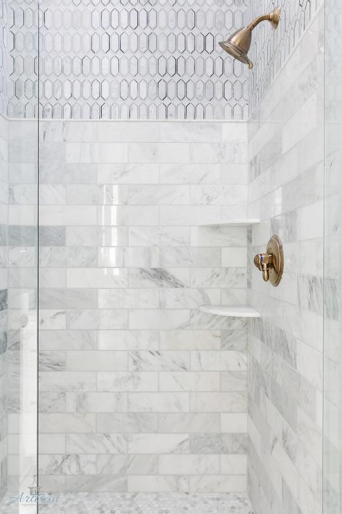 Mixed Marble Shower Tiles with Carrera Marble Shower Floor & Mixed Marble Shower Tiles with Carrera Marble Shower Floor ...