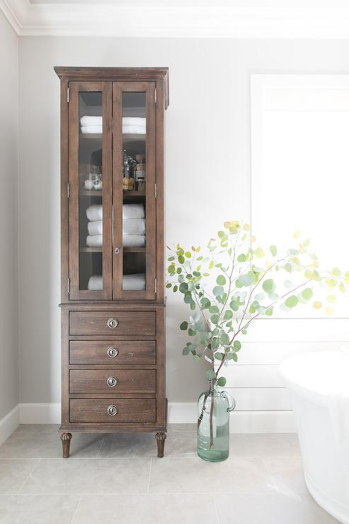 Restoration Hardware Maison Tall Bath Cabinet In Master Bathroom