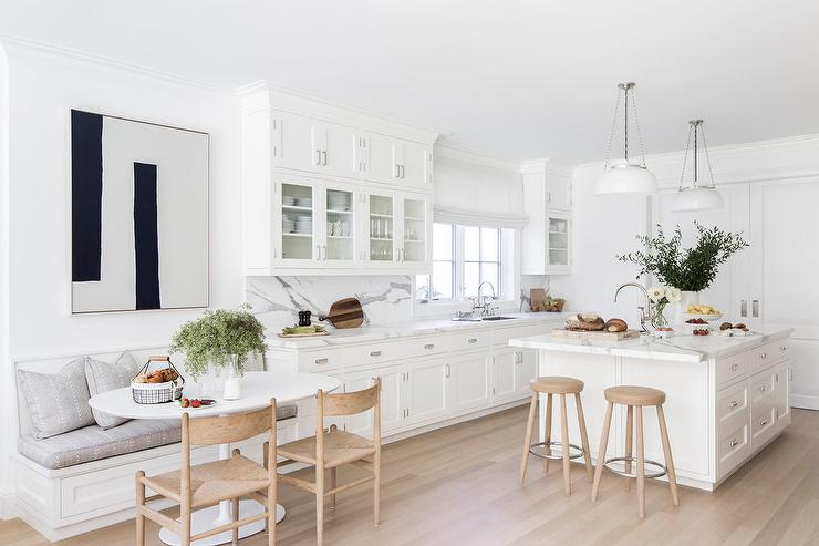 White Shaker Kitchen With Gray Wash Wood Floors Transitional Kitchen
