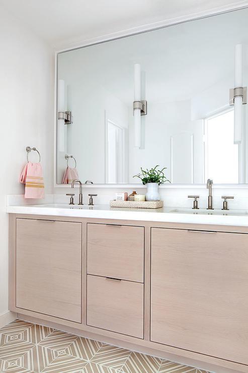 Asymmetrical Sink Vanity On Full Length Mirror