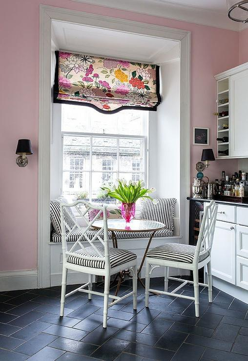 Pink Kitchen With Black Slate Herringbone Floor Tiles