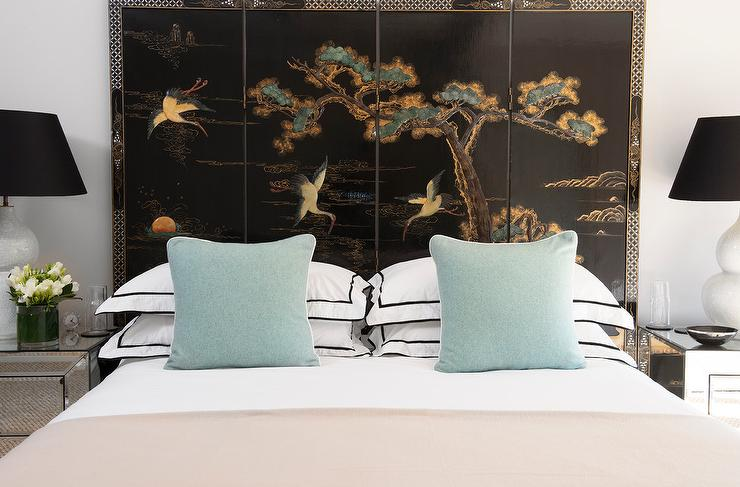 Black chinoiserie art panels as headboard contemporary for Blue and taupe bedroom ideas